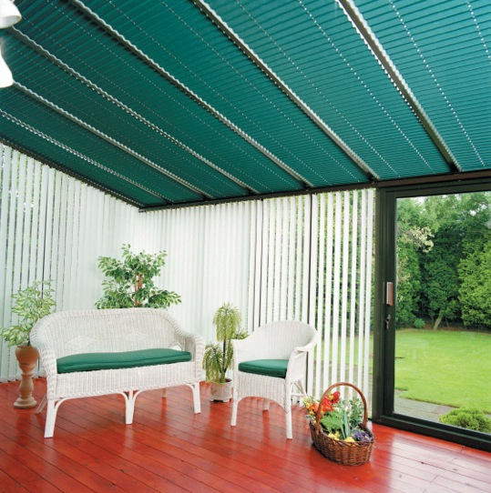 Green Conservatory Roof Blinds
