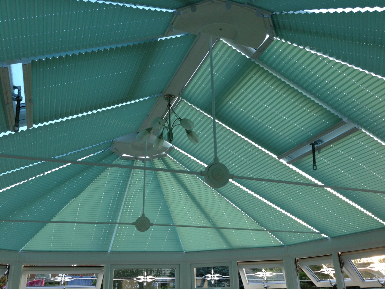 Teal Conservatory Roof Blinds
